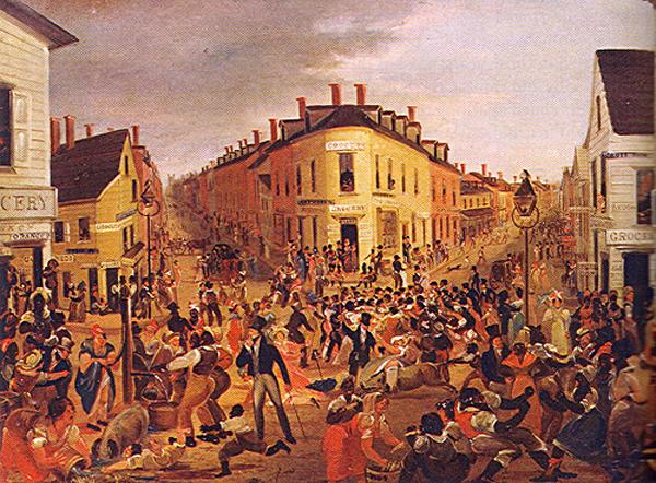 """منطقة """"فايف بوينتس"""" في جنوب مانهاتن، مثلما رسمها جورج كاتلن في 1827، وهي أول مستوطنة في نيو يورك للسّود الأحرار، وكانت """"فايف بوينتس"""" وِجهة المهاجرين الإيرلنديين ونقطة محوريّة لحياةٍ جماعية عاصفة للطبقة العاملة الجديدة. اختُرِع الشرطة لكي تتم السيطرة على أحياءٍ وفئاتٍ اجتماعيّة كهذه."""