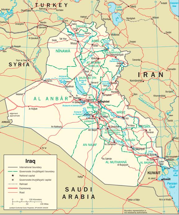 خريطة العراق. الصورة مِن مكتبة جامعات تكساس. جامعة تكساس في أوستن.