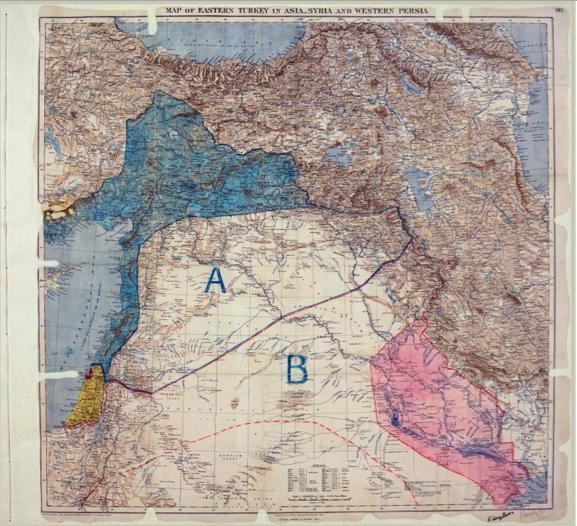 خريطة اتّفاقيّة سايكس بيكو التي تمّ توقيعها من قبل ماركس سايكس وفرانسوا جورج بيكو بتاريخ 8 مايو 1916. الصورة من الأرشيف الوطني البريطاني MPK1/426, FO 371/2777 (folio 398). من ويكيبيديا