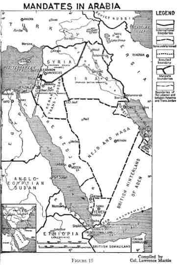 خريطة مناطق الانتداب. كلّ الحدود المتقطّعة تمّ تعريفها بأنّها